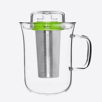 QDO Me Cup infuser with tea cup in glass green 400ml