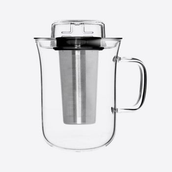 QDO Me Cup infuser with tea cup in glass black 400ml