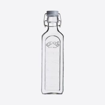 Kilner square glass bottle with grey clip top 600ml
