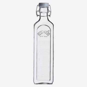 Kilner square glass bottle with grey clip top 1L