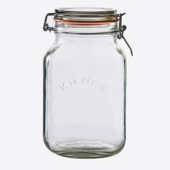 Kilner square glass clip top jar 2L