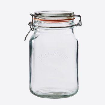 Kilner square glass clip top jar 1.5L