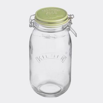 Kilner Pets round glass storage jar with clip top Bird Treats 2L
