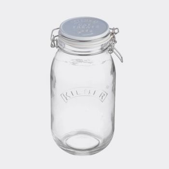 Kilner Pets round glass storage jar with clip top Cat Treats 2L