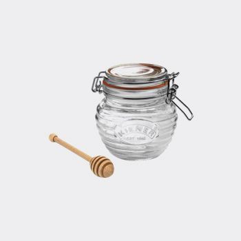 Kilner glass honeypot with wooden honey spoon in gift box 400ml