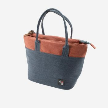 Rixx tote cooler bag dark blue and orange brown 33x14x21.5cm