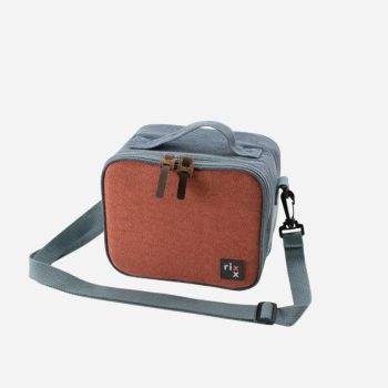 Rixx sling cooler bag dark blue and orange brown 21x13x17cm