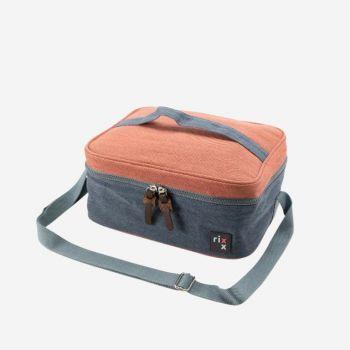 Rixx rectangular sling cooler bag dark blue and orange brown 27x21x12cm