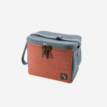 Rixx sling cooler bag dark blue and orange brown 23x15x19cm