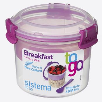 Sistema To Go breakfast bowl with compartments pink 530ml (per 12pcs)