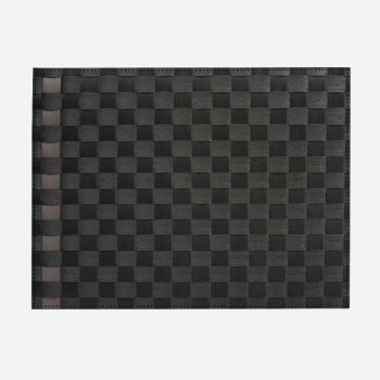 Saleen wide woven plastic placemat black and taupe 30x40cm