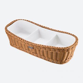 Saleen rectangular woven plastic basket with dish beige 31.5x13.5cm