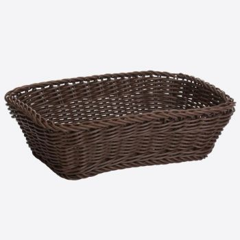 Saleen rectangular woven plastic basket brown 31x21x9cm