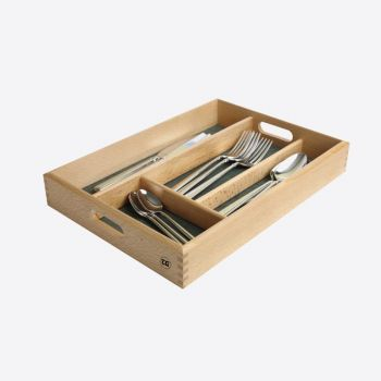T&G Woodware cutlery drawer in beech with 4 comp. green interior 34x24.5x5cm