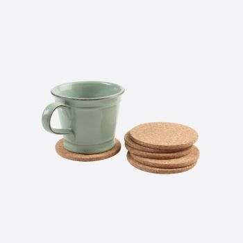 T&G Woodware set of 6 round cork coasters ø 10cm H 0.6cm