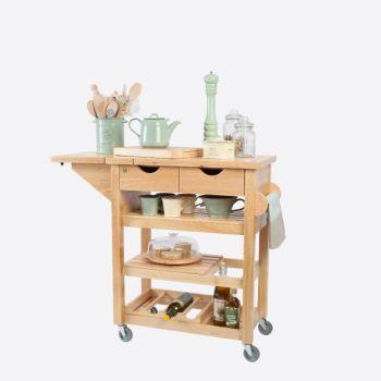 T&G Woodware kitchen trolley in hevea wood 79x343x91.5cm