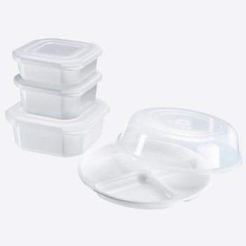 Westmark 5-piece set of plastic microwave containers; plate and lid white