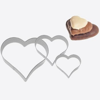 Westmark set of 3 stainless steel cookie cutters heart 2; 3 and 4cm