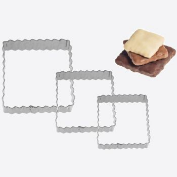 Westmark set of 3 stainless steel cookie cutters ribbed square 4; 5 and 6cm