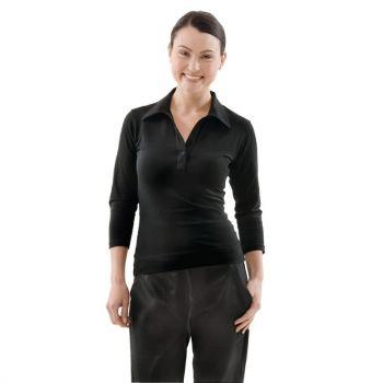 Uniform Works dames T-shirt met V-hals zwart XS