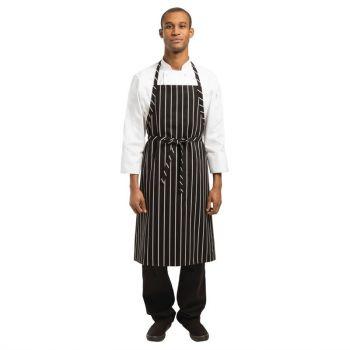 Chef Works Premium geweven schort zwart-wit gestreept