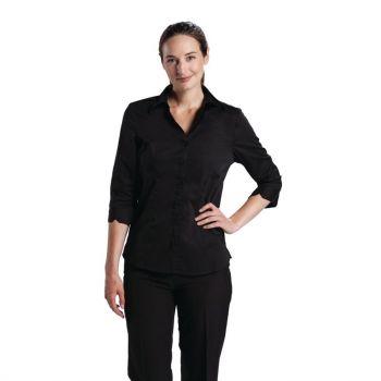 Uniform Works dames stretch shirt zwart L