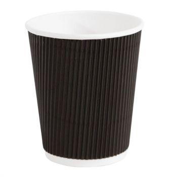 Fiesta koffiebekers met geribbelde wand zwart 22.5cl