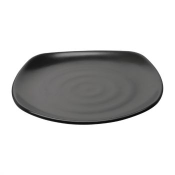 Kristallon Fusion melamine vierkante borden met ronde hoeken zwart 25cm