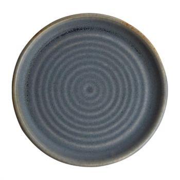 Olympia Canvas ronde borden met smalle rand blauw graniet 18cm