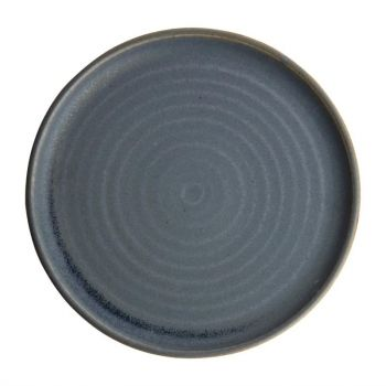 Olympia Canvas ronde borden met smalle rand blauw graniet 26.5cm