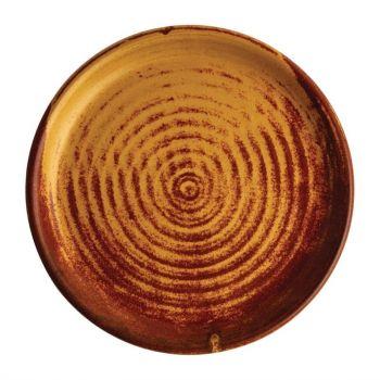 Olympia Canvas ronde borden met smalle rand roestoranje 18cm