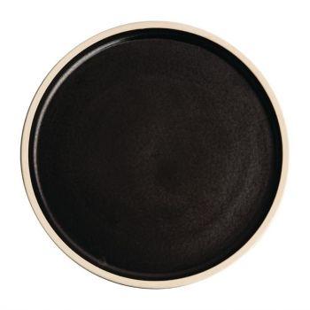 Olympia Canvas platte ronde borden zwart 25cm