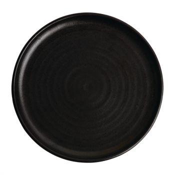 Olympia Canvas ronde borden met smalle rand zwart 26.5cm