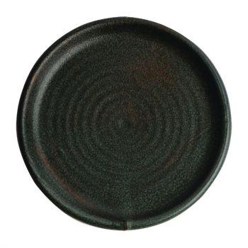 Olympia Canvas ronde borden met smalle rand groen 18cm