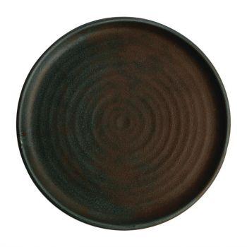 Olympia Canvas ronde borden met smalle rand groen 26.5cm