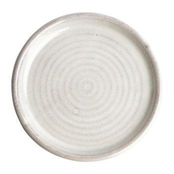 Olympia Canvas ronde borden met smalle rand wit 18cm