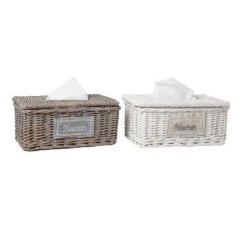 Cosy & Trendy Tissue Box Willow 2 Types Grey White