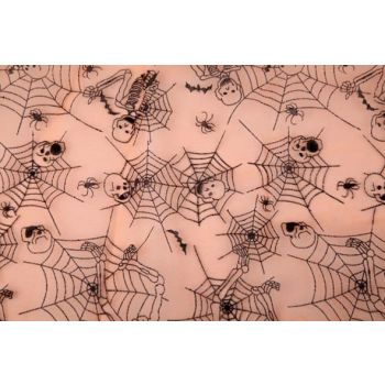 Cosy @ Home Decofabric Org.orange Web Skull 40x200cm