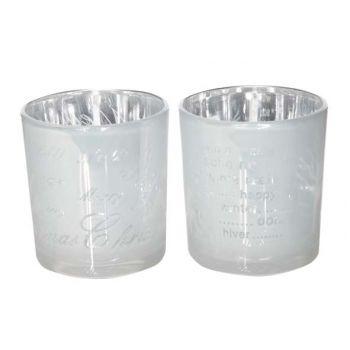 Cosy @ Home Tealightglass Silverwhite 2 Types D7xh8cm