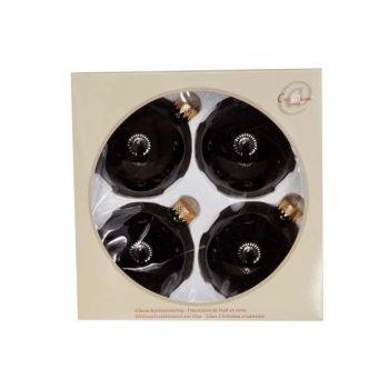 Cosy @ Home Ball Glass Set4 Black Shiny D8cm