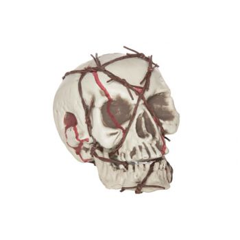 Cosy @ Home Skull With Barbed Wire 17x19x16cm