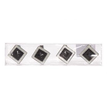 Cosy @ Home Napkinring Diamond Set4 Black3x3.5x3.5cm