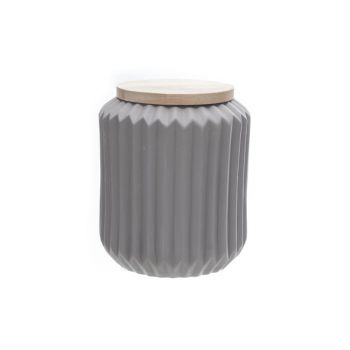 Cosy @ Home Jar With Wooden Cover Grey Porcelain
