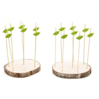 Cosy & Trendy Set 15pcs Picks - 2xwooden Holder Round