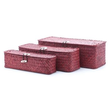 Cosy & Trendy Set3 Seagrass Basket Rect. Red