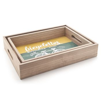 Cosy @ Home Bicyclettes Tray Set2 Wood 36x26xh7cm +
