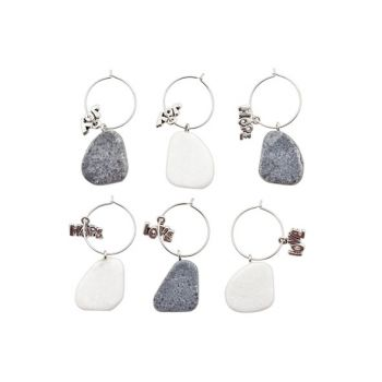 Cosy @ Home Glass Markers Stone Grey-white Set6