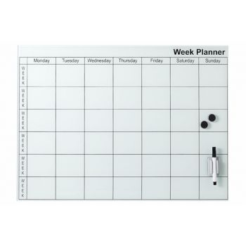 Cosy @ Home Memo Board White Glass 45x61cm Week Plan