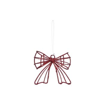 Cosy @ Home Hanger Bow Red Glitter 9x3x8cm