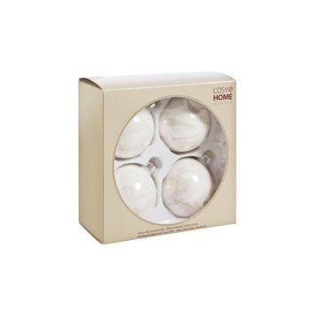 Cosy @ Home Glass Ball 4pcs 8cm Pearl White Perle